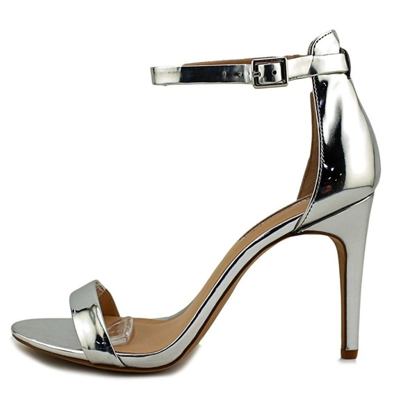 0e1a50a0737 INC silver metallic ankle strap heel sandals WIDE!